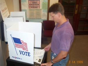 Mark Testing Voting Machine in 2000