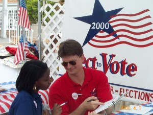 Mark registering voters in 2000